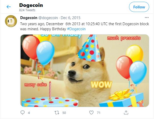 Dogecoin 2 Birthday Image