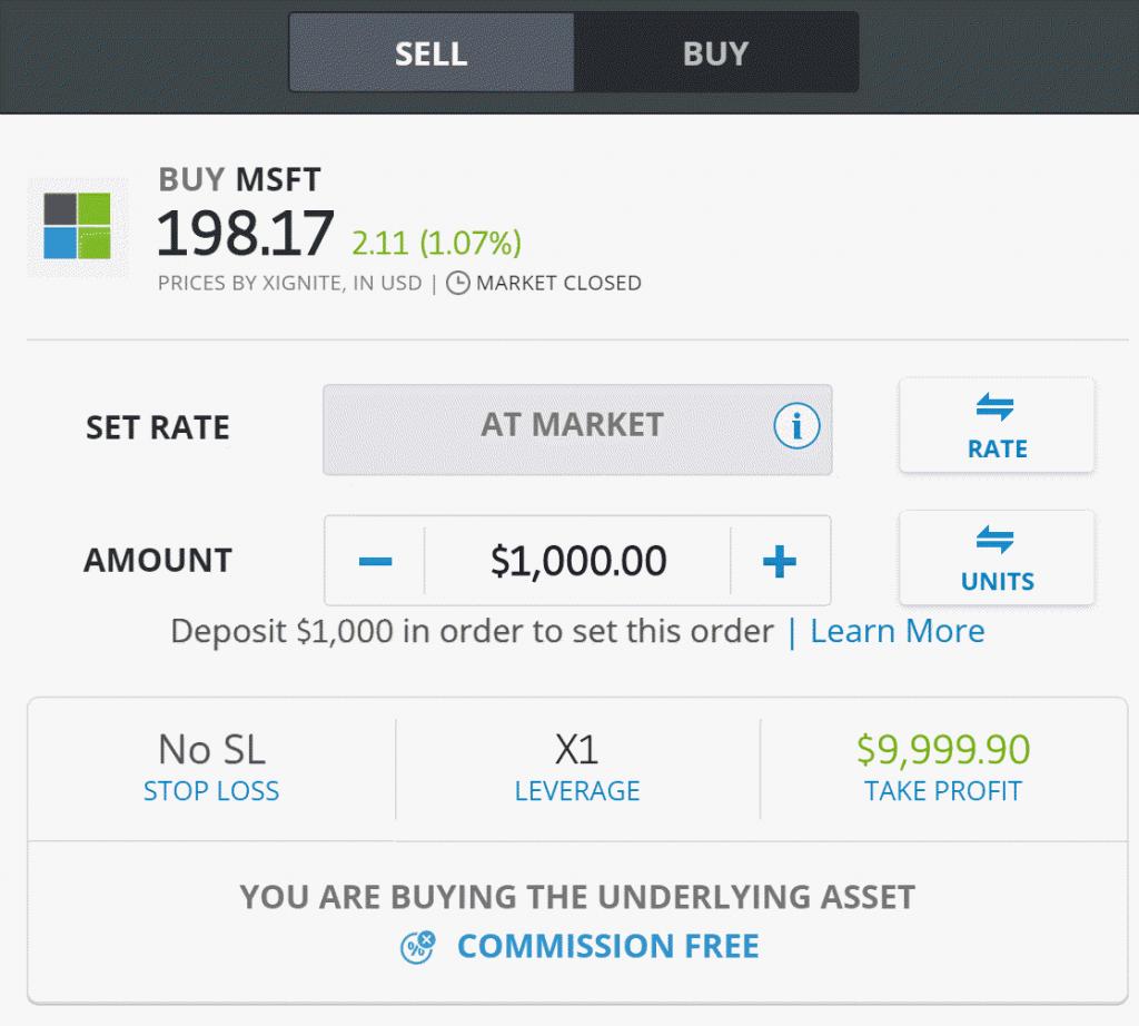 EToro Buy Order